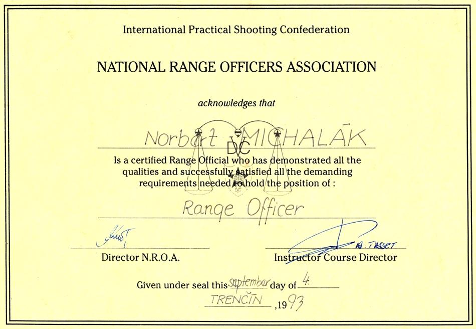Certified : Range Officer – 1993