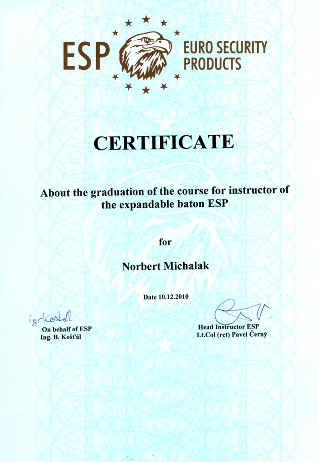 Certificate – instructor of the expandable baton ESP